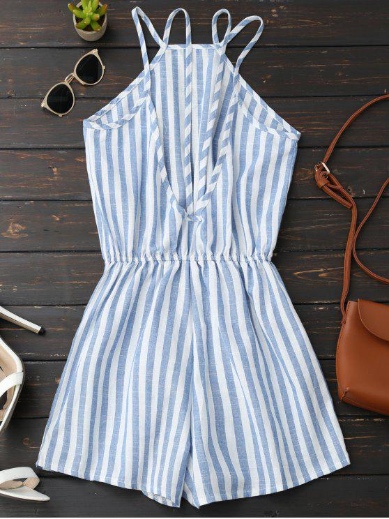 sale Backless Striped Romper - BLUE L