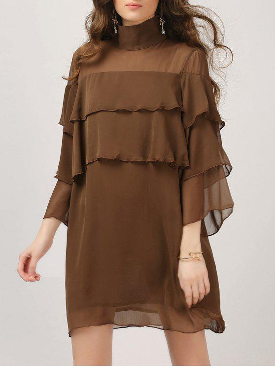 women Layered Ruffles Casual Dress - DARK COFFEE S