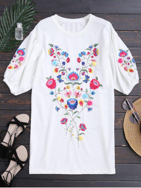 فستان دلمان الأكمام طباعة الأزهار مطرز مستقيم - أبيض M
