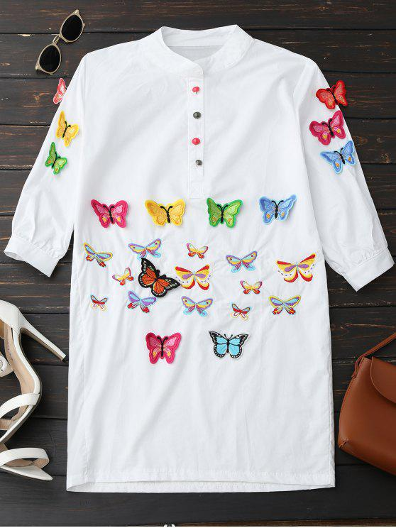 buy Embroidered Butterfly Tunic Shirt Dress - WHITE S
