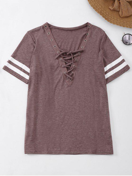 latest Lace Up T-Shirt With Stripe - BEGONIA L