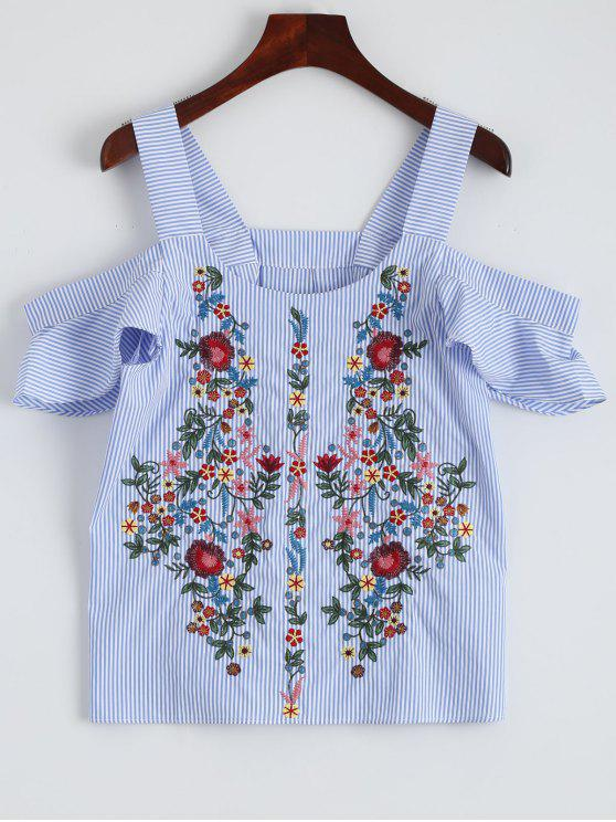 lady Striped Embroidered Cold Shoulder Top - STRIPE L