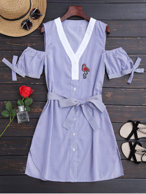 chic Belted Stripes Shirt Dress - STRIPE L