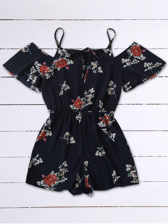 Camisola de Cami floral com ombro frio - Azul Arroxeado L