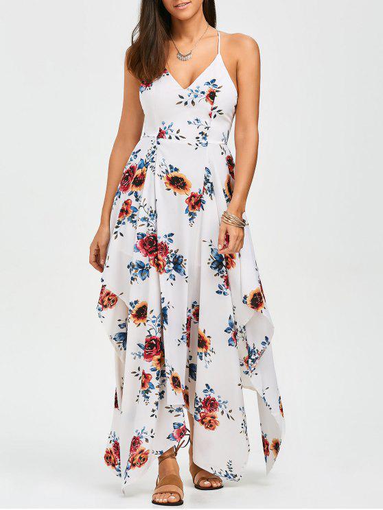 Robe Asymétrique en motif floral et en croisillons - Floral M