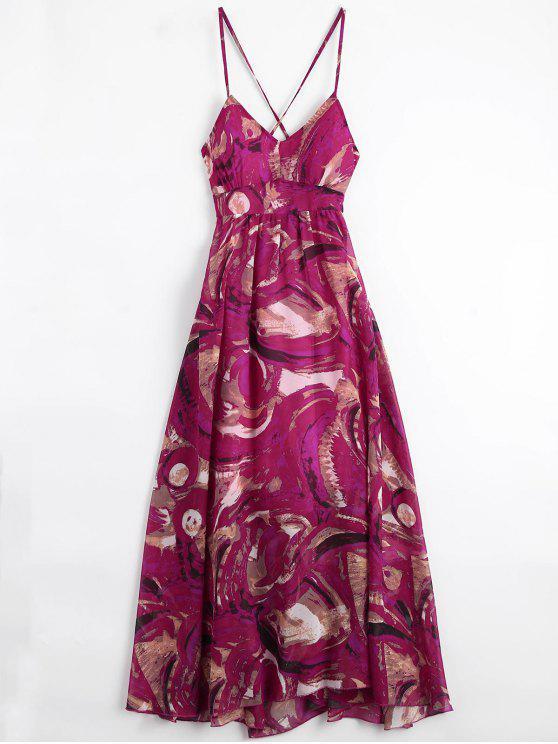 Bohemian Lace Up Vestido de vacaciones con estampado acolchado - Multicolor L