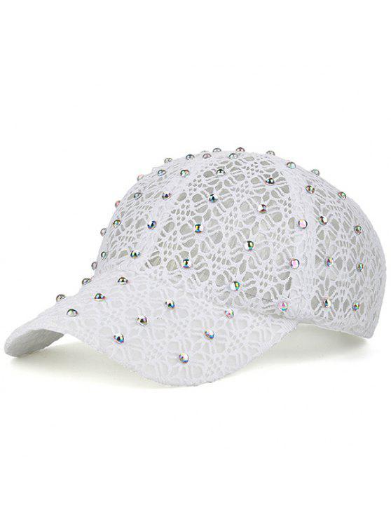 حار حفر الدانتيل الجوف خارج شبكة قبعة - أبيض