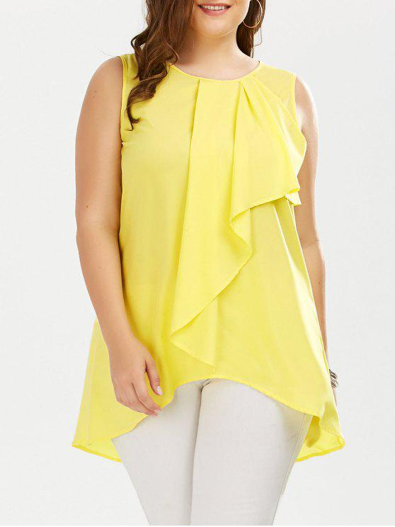 585824cc2e5 28% OFF  2019 Plus Size Ruffle Front Sleeveless Blouse In YELLOW 2XL ...