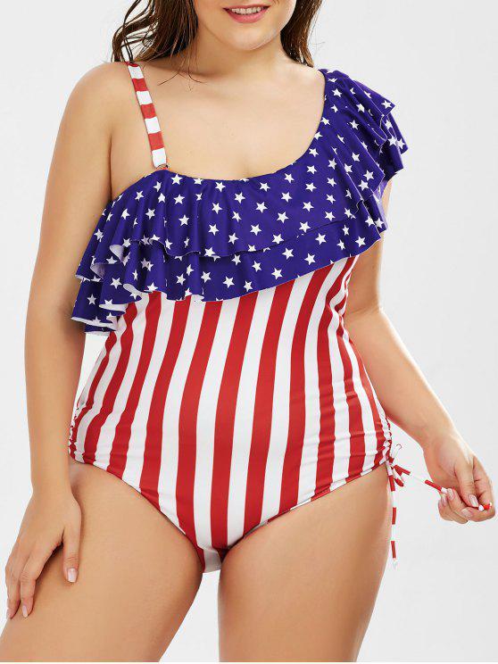 4d76ae2adea50 American Flag Print Ruffle Plus Size One Piece Patriotic Swimwear - Us Flag  2xl
