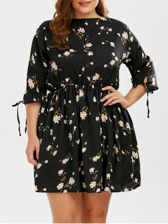 Floral A Line Plus Size Mini Dress BLACK