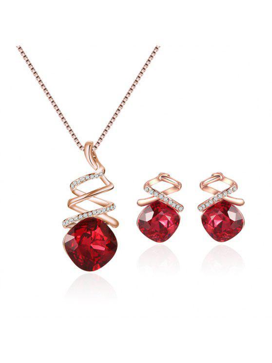 فو روبي حجر الراين قلادة مجموعة مجوهرات - أحمر