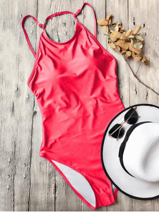 fancy Open Back High Neck One Piece Swimsuit - RED L
