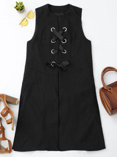Back Slit Lace Up Longline Waistcoat - Black L