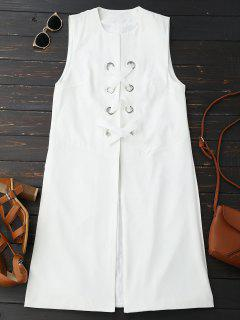 Back Slit Lace Up Longline Waistcoat - White L