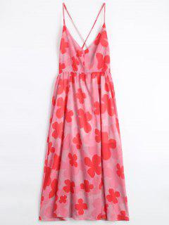 Four-Leaf Clovers Print Backless Beach Dress - Pink M