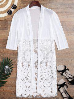 Mesh Panel Lace Kimono Cover Up - White