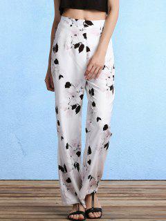Floral Print High Waist Straight Leg Pants - White L