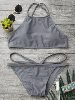 High Neck V Strap Thong Bikini Set - Gray M