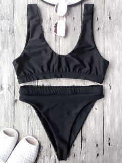 High Cut Scoop Front Bikini Set - Black L
