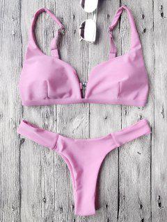 Padded Plunge High Cut Bikini Set - Pink S