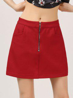 Half Zip A-Line Skirt With Pockets - Red S