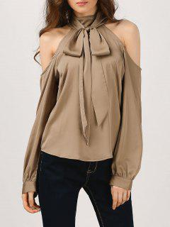 Cold Shoulder Blouse With Silk Scarf - Khaki S
