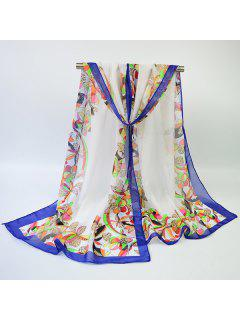 Vintage Multicolor Flowers Edge Printed Shawl Scarf - Off-white