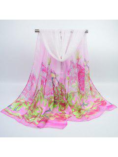 Chiffon Pintado A Mano Peony Impreso Bufanda - Rosa