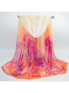 Chiffon Hand Painted Peony Printed Scarf - Rose And Orange