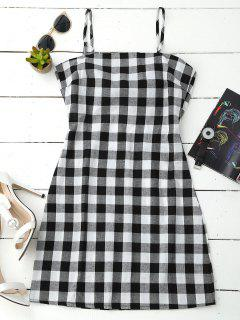 Slip Tie Back Plaid Dress - Black White L
