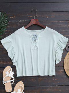 Ruffles Cropped Lace Up Top - Light Green L