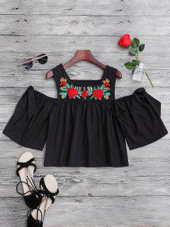 Floral Sequined Cold Shoulder Top - Black M