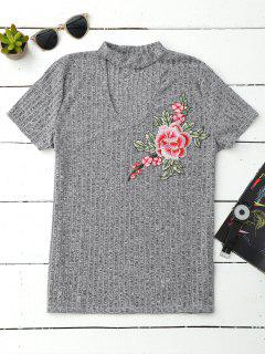 Choker Embroidered Flower Ribbed Top - Gray M