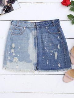 Cutoffs Ripped Denim Skirt - Denim Blue M
