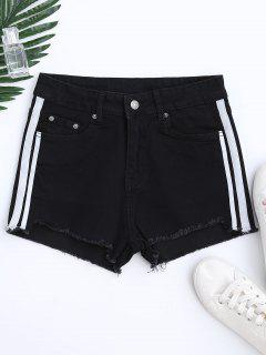 Color Block Cutoffs Shorts - Black M