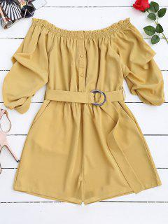 Belted Off The Shoulder Romper - Yellow L