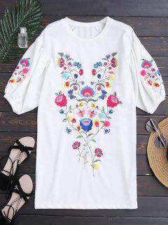 Dolman Hülse Blumen Besticktes Gerade Kleid - Weiß L