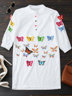 Vestido Bordado De Túnica De Mariposa - Blanco S