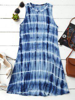 Tie Dye Cotton Blend Tank Dress - Blue S