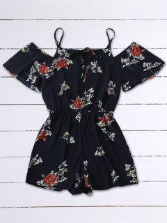 Cold Shoulder Floral Cami Playsuit - Purplish Blue S