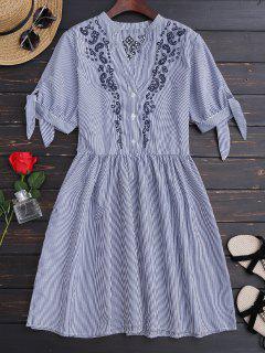 Vestido Casual A Rayas Con Bordado - Raya L