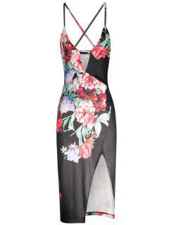 Flower Print High Waisted Split Slip Dress - Black M