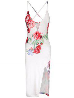 Flower Print High Waisted Split Slip Dress - White M