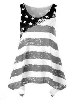Débardeur Asymétrique Imprimé De Drapeau Américain - Blanc Et Noir 2xl