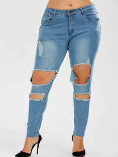 Ripped Plus Size Skinny Jeans - Denim Blue 5xl
