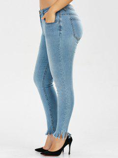 Light Wash Skinny Plus Size Jeans - Denim Blue 5xl