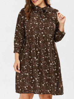 Plus Size Daisy Floral Button Down Pussy Bow Shirt Dress - Deep Brown Xl