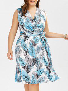 Plus Size Leaf Printed Surplice Dress With Belt - Light Blue 6xl
