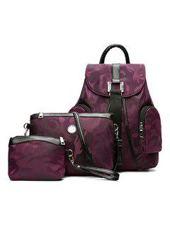 Camo Pattern Drawstring Backpack Set - Purple