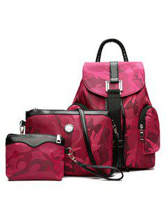 Camo Pattern Drawstring Backpack Set - Rose Red